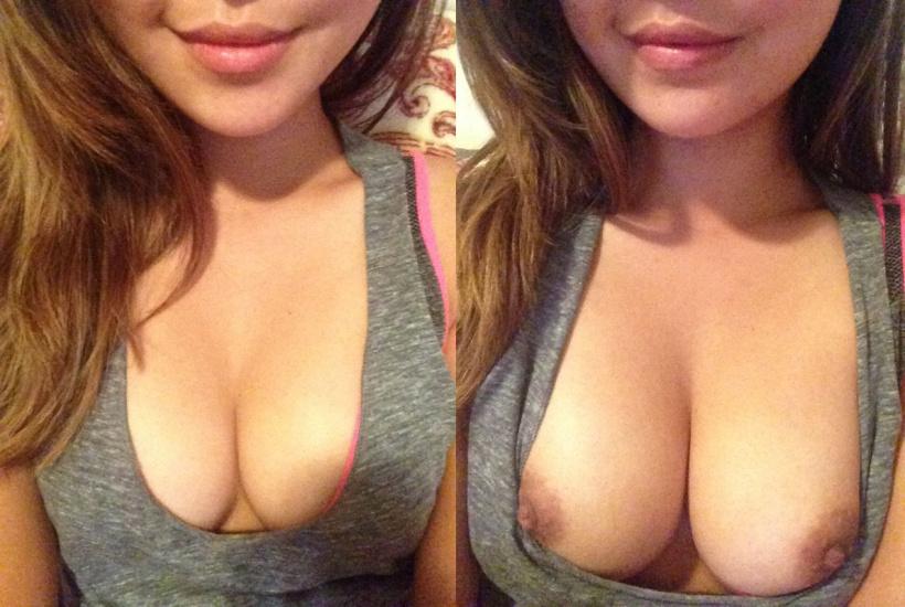 Любительские селфи девушки с обнаженной грудью