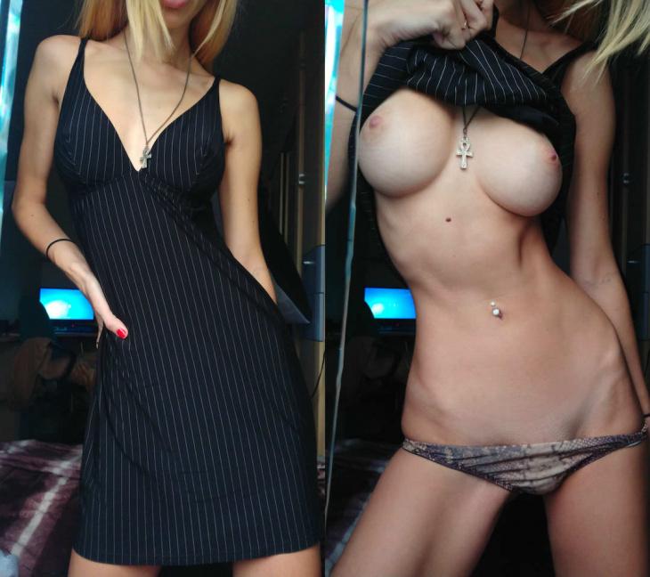 Девушки в одежде и обнаженные