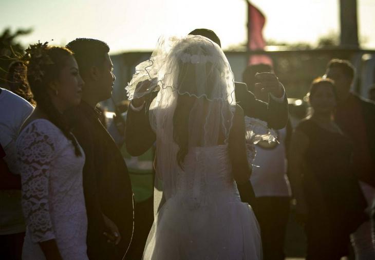 Массовая свадьба в день Святого Валентина в Никарагуа