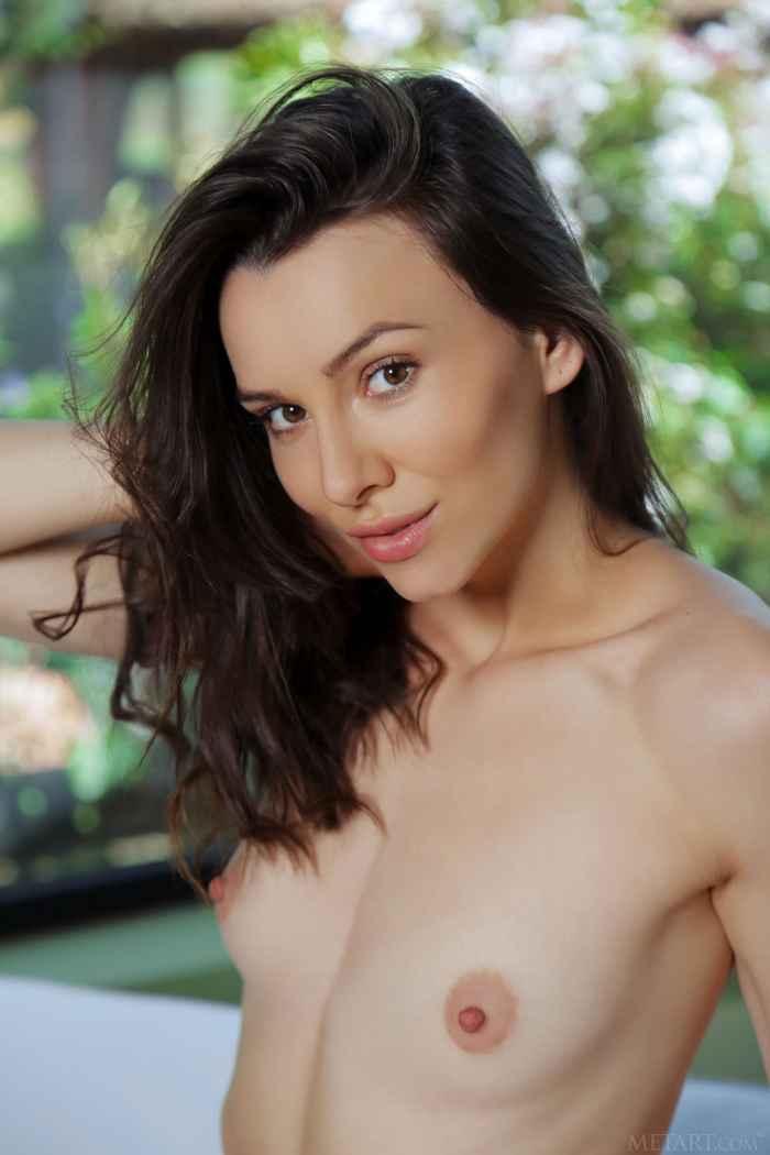 Сексуальная брюнетка в прозрачном лифчике — НЮ