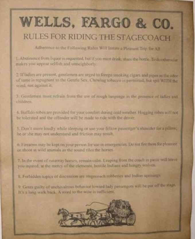 Правила поездки в дилижансе на Диком Западе