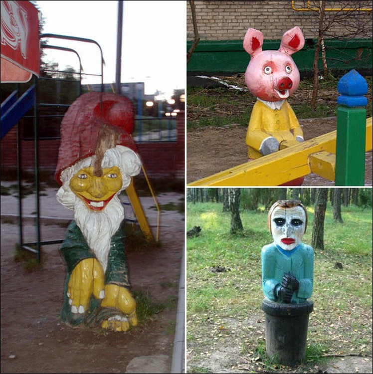 Подборка смешных и в то же время ужасных детских площадок