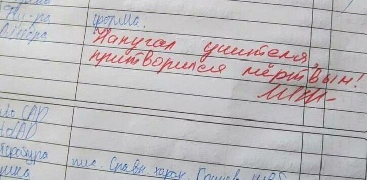 Странные замечания в дневнике
