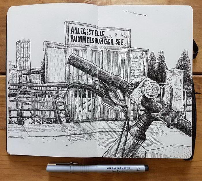 Динамичный и очень контрастный город в зарисовках