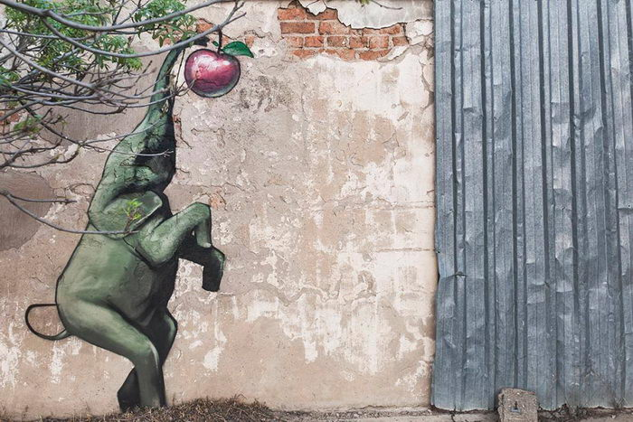 Уличный художник врисовывает слонов в городскую жизнь